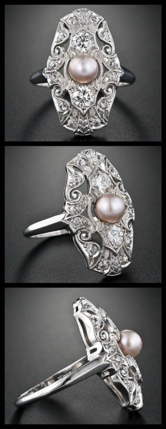 Edwardian natural pearl and diamond dinner ring at Lang Antiques. Via Diamonds in the Library.
