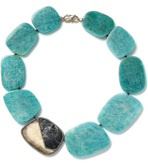 Necklace with amazonite, olive grey sunburst fossilized walrus ivory, vivid blue fossilized woolly mammoth tooth root and white diamonds. By Monique Pean. Via Diamonds in the Library.