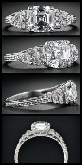 2.03 carat asscher cut diamond engagement ring. Via Diamonds in the Library.