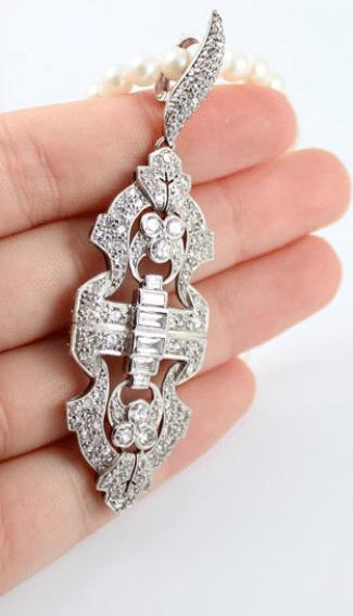 Platinum antique Art Deco Edwardian 2.6ct diamond pendant pearl enhancer necklace. Via Diamonds in the Library.
