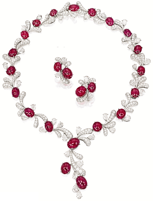 Ruby and diamond fireworks set by James W. Curren for Faidee. Via Diamonds in the Library.