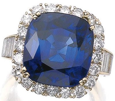 16.47 carat sapphire and diamond ring by Van Cleef and Arpels. Via Diamonds in the Library.