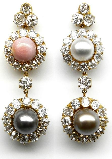 19th century colored pearl and diamond earrings, circa 1880.