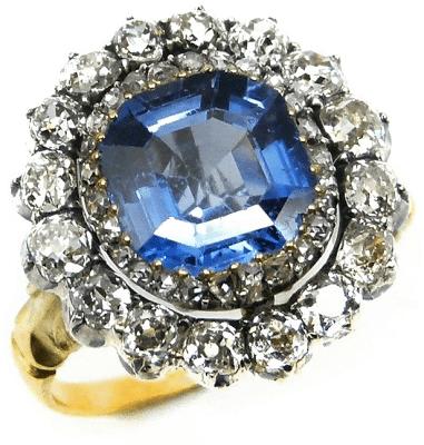 19th century sapphire and diamond cluster ring, circa 1880. Via Diamonds in the Library.