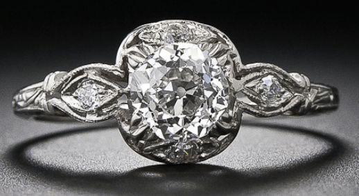 .83 carat Edwardian diamond engagement ring. Via Diamonds in the Library.
