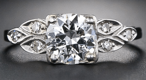 .83 carat vintage diamond engagement ring made in the 1940s. Via Diamonds in the Library.
