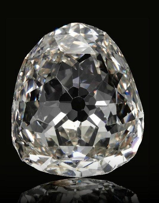 Alt view; The Beau Sancy - a 34.98 carat a modified pear double rose-cut diamond previously owned by the royal family of Prussia. Via Diamonds in the Library.