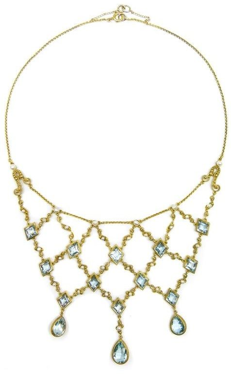 Antique gold filigree, aquamarine, and pearl necklace, circa 1890. Via Diamonds in the Library.