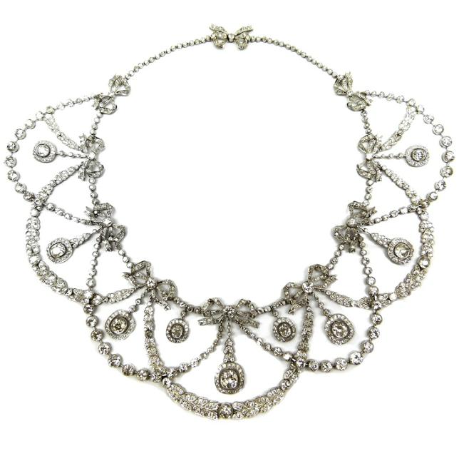 Belle Epoque diamond garland necklace with tiny bows, circa 1900. Via Diamonds in the Library.
