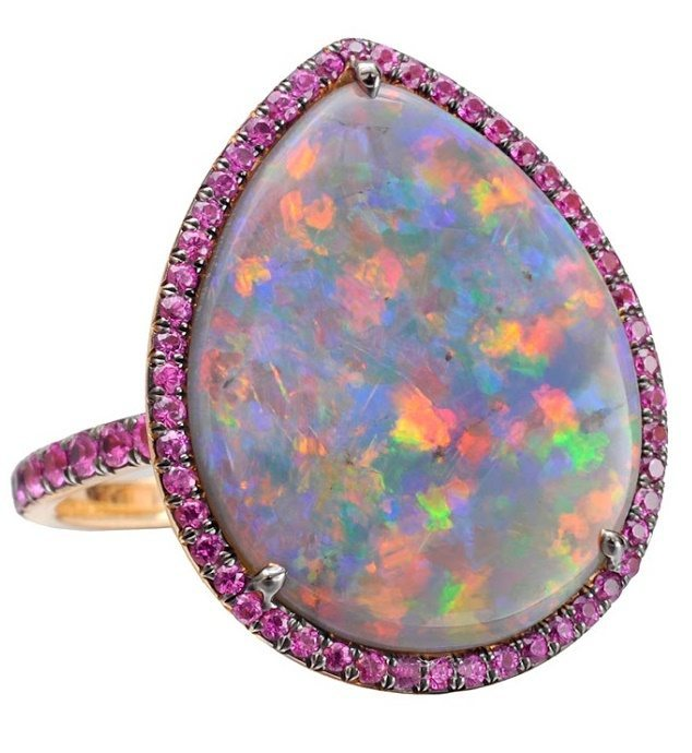 Betteridge Collection pear-shaped black opal cocktail ring with pink sapphire.