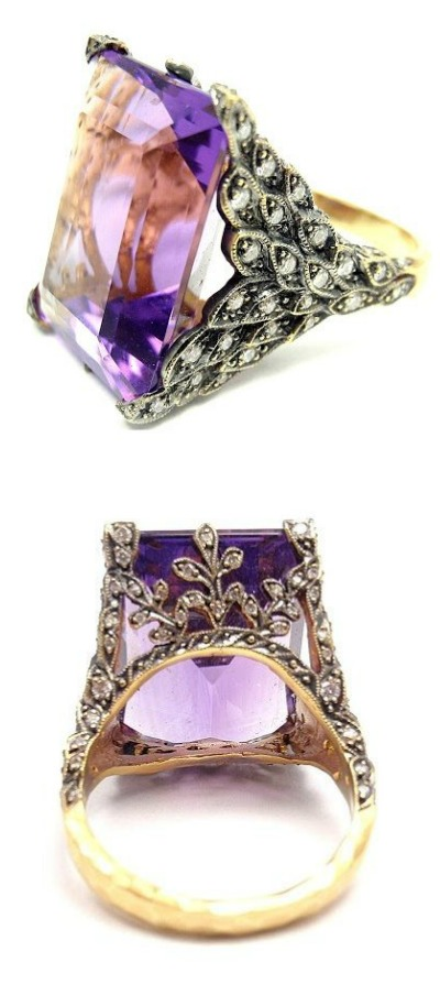 A beautiful Cathy Waterman gold, diamond and amethyst ring.
