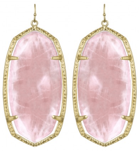 Danielle Earrings, Rose Quartz. By Kendra Scott. Via Diamonds in the Library.