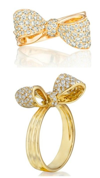 Mimi So petite bow ring in gold and diamonds. Via Diamonds in the Library.