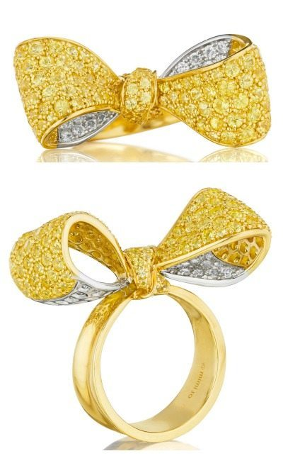 Mimi So yellow sapphire and diamond bow ring in yellow and white gold. Via Diamonds in the Library.