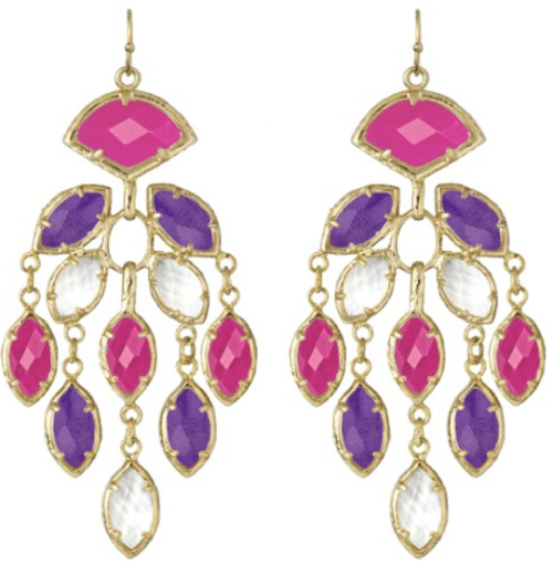 Pink & Purple Gwen Earrings; dyed agate, clear quartz, and pink jade. By Kendra Scott. Via Diamonds in the Library.