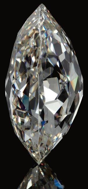 Side view; The Beau Sancy - a 34.98 carat a modified pear double rose-cut diamond previously owned by the royal family of Prussia. Via Diamonds in the Library.