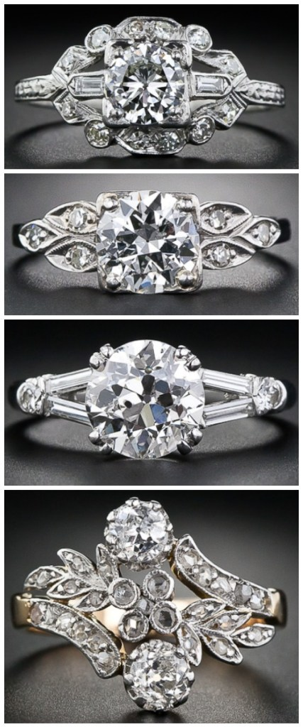 Vintage and antique engagement rings. Diamonds from the Edwardian era to Art Deco and MidCentury.