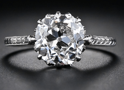 2.90 carat antique cushion-cut diamond engagement ring, circa 1915. Via Diamonds in the Library.