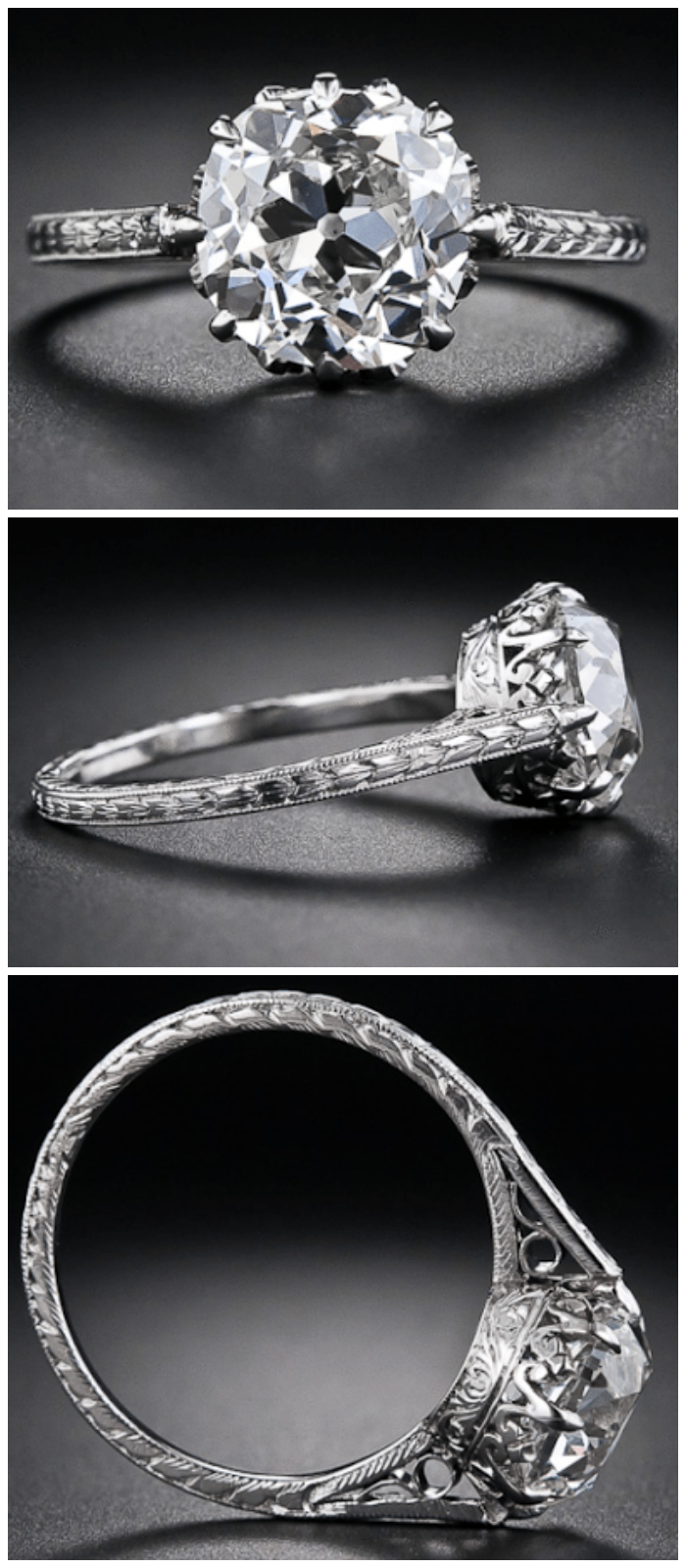 A 2.90 carat antique cushion-cut diamond engagement ring, circa 1915. Via Diamonds in the Library.