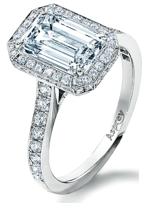 Asprey Victorian Mount halo engagement ring, set with a 2ct emerald-cut diamond.