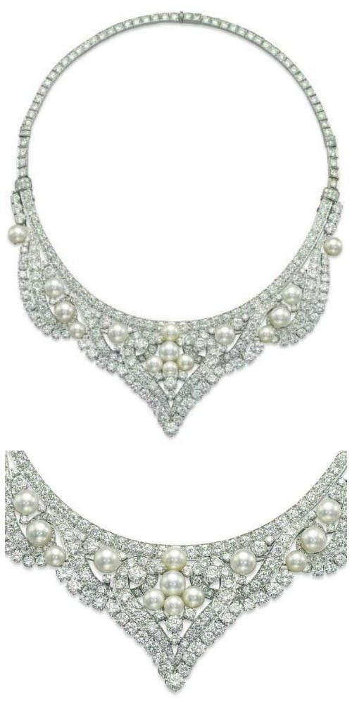 David Webb pearl and diamond necklace that converts into a tiara. Via Diamonds in the Library.