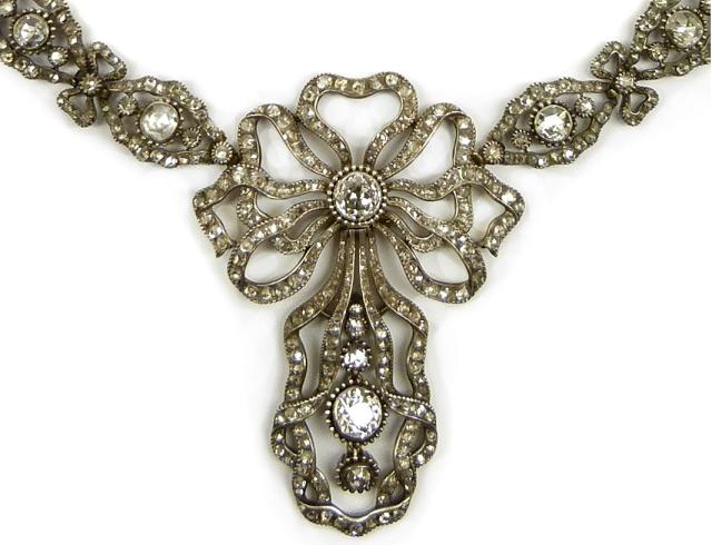 Detail - Antique diamond necklace, Cartier. Paris, circa 1905. Via Diamonds in the Library.