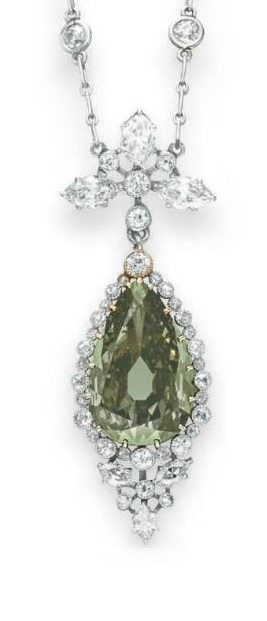 Detail; Belle Epoque colored diamond & diamond necklace, with a pear-shaped fancy dark gray-yellowish green diamond, weighing approximately 5.84 carats. Circa 1910. Via Diamonds in the Library.