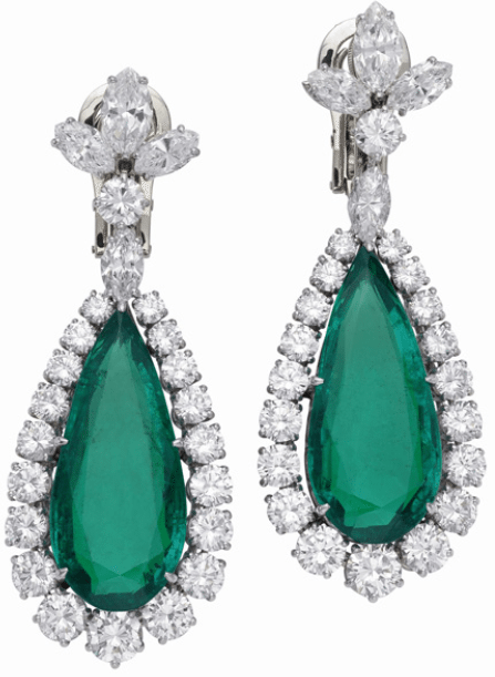 Earrings from Elizabeth Taylor's Bulgari emerald and diamond suite, circa 1960.