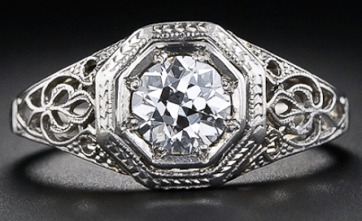 Edwardian diamond solitaire and filigree engagement ring, late 1920's. Via Diamonds in the Library.