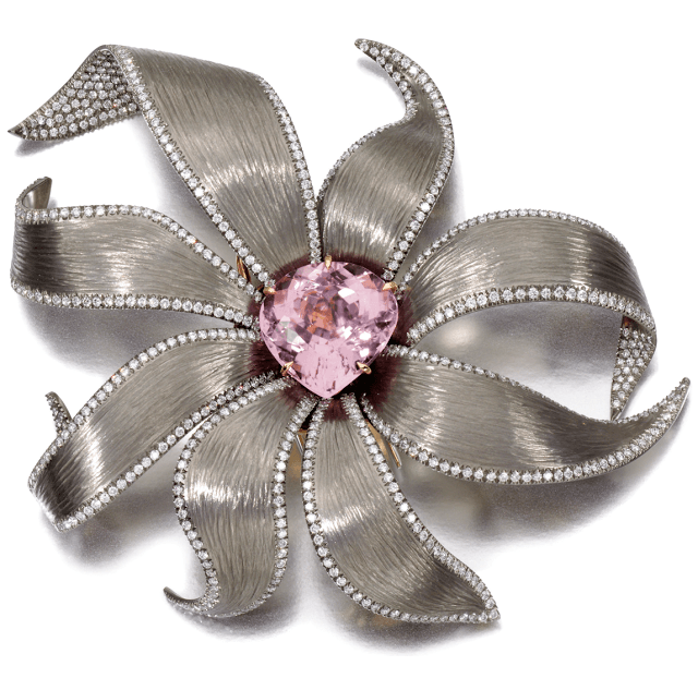 Floral brooch by Margherita Burgener with a 22.32 carat kunzite and diamonds set in titanium. Via Diamonds in the Library.