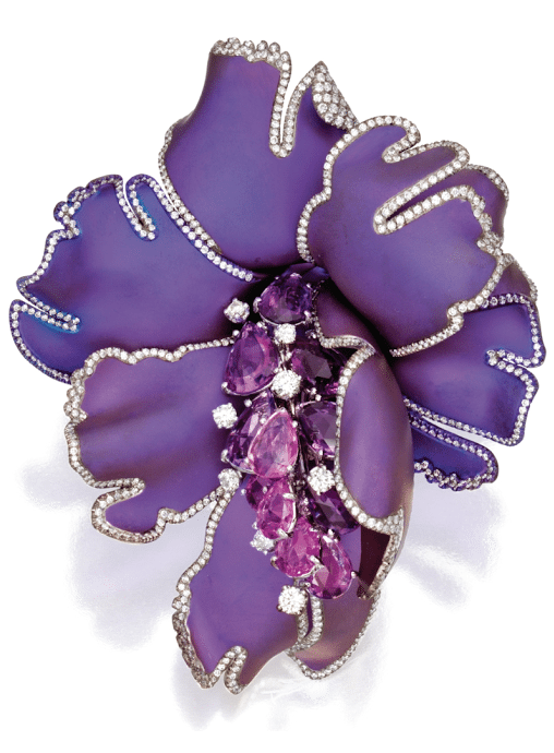 Floral brooch by Margherita Burgener. 16.16 carats of rose-cut pear-shaped pink sapphires and 4.70 carats of diamonds set in titanium.  Via Diamonds in the Library.