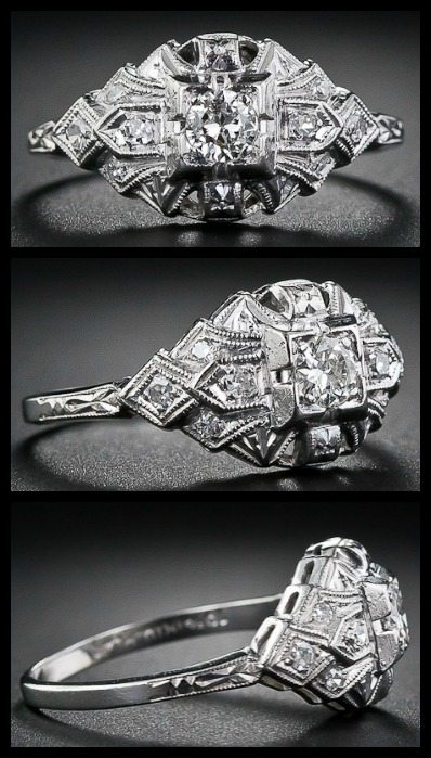 Petite Art Deco diamond ring with a geometric millegrain setting. Via Diamonds in the Library.