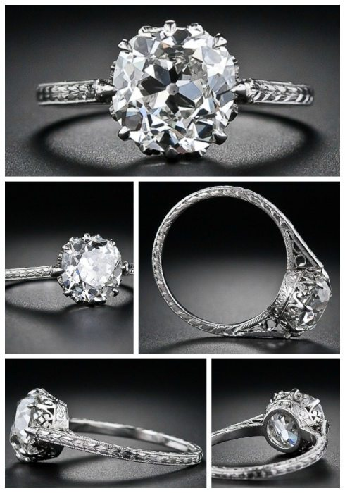 Alternate view: 2.90 carat antique cushion-cut diamond engagement ring, circa 1915. Via Diamonds in the Library.