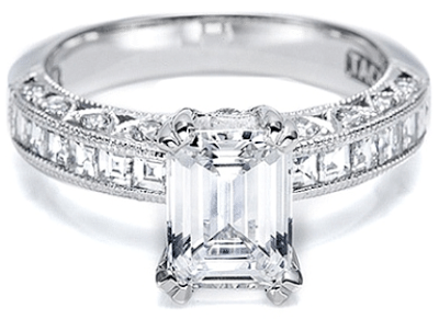 Tacori channel-set and pave diamond engagement ring with an emerald-cut center stone.