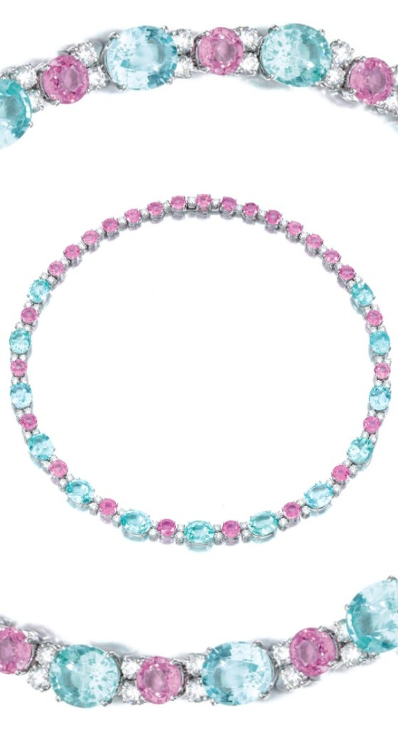A wonderful diamond, pink sapphire, and pariaba tourmaline necklace, Michele Della Valle. Via Diamonds in the Library.