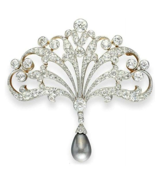 An antique diamond and pearl brooch by Tiffany and Co., circa 1895.