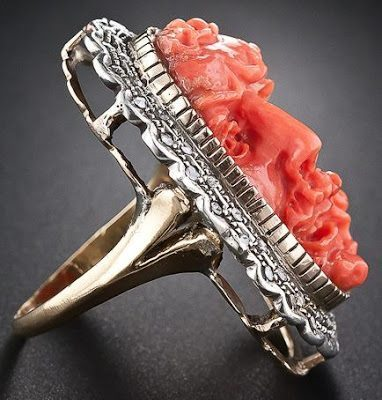 Antique Italian carved coral and diamond ring. Side view. Via Diamonds in the Library.