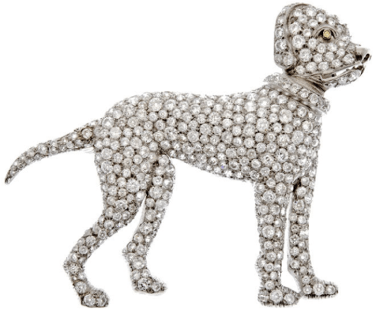 Art Deco diamond boxer dog brooch, circa 1925. Via Diamonds in the Library.