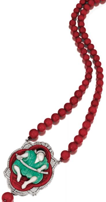 Art Deco samouraï necklace by Lacloche, circa 1925. Via Diamonds in the Library.