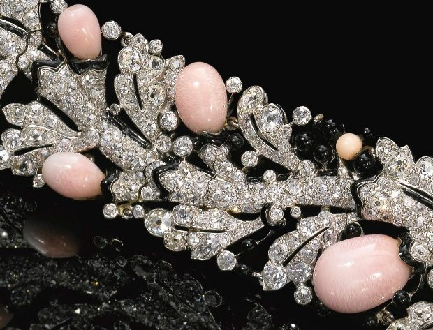 Detail; Art Deco diamond, conch pearl, and enamel bracelet by Cartier. Circa late 1920's. Via Diamonds in the Library.