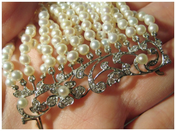 Edwardian pearl, platinum, and diamond collier-de-chien from The Antique Guild in Old Town Alexandria, VA.
