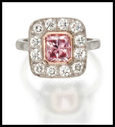 Diamond ring with a cut-cornered rectangular modified brilliant-cut diamond of fancy brownish purplish pink color weighing 1.70 carats. The colored diamond is surrounded by round diamonds weighing approximately 1.45 carats. Via Diamonds in the Library.