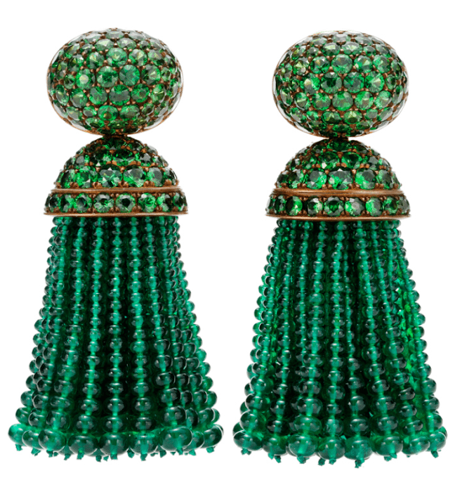 Glamorous Hemmerle emerald and tsavorite tassel earrings.