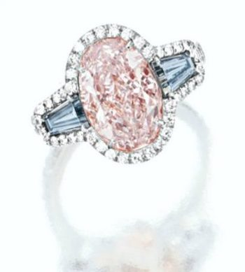 Pink and blue diamond engagement ring