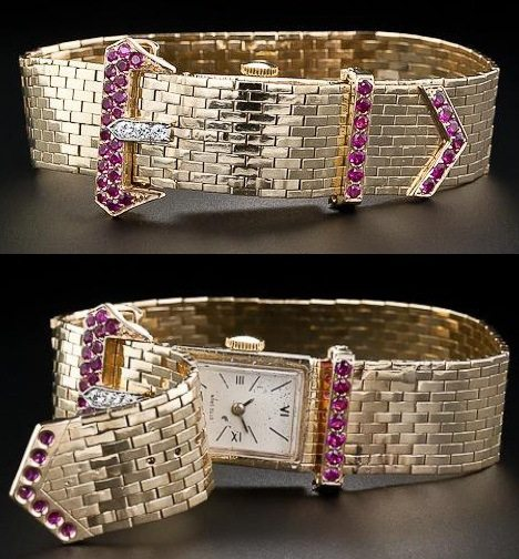Retro buckle bracelet watch with diamonds and rubies. Circa 1940's. Via Diamonds in the Library.