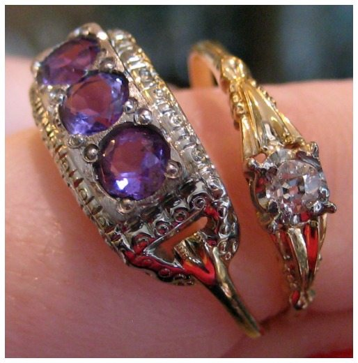 Two Art Deco rings from The Antique Guild in Old Town Alexandria, VA. Left; yellow gold, white gold, and amethyst. Right; gold and diamond.