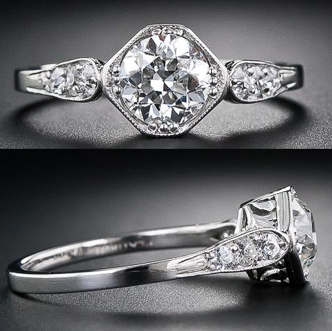 .94 carat platinum and diamond engagement ring from the early-nineteenth century. It features elements of both Edwardian and Art Deco periods.