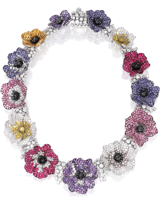 A Michele della Valle necklace with 46.86 cts of diamonds with 7.45 cts of black, pink and yellow diamonds, with sapphires, amethysts, garnets, iolites, tourmalines, and spinel.