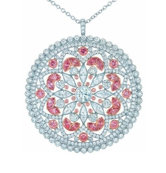 A diamond and pink diamond pendant from the 2013 Tiffany & Co. Blue Book Collection. Via Diamonds in the Library.