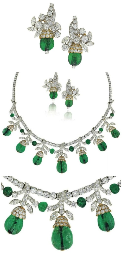 An emerald and diamond set with necklace and earrings, Van Cleef and Arpels. Circa 1960's. Via Diamonds in the Library.